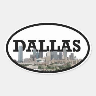 Sticker Ovale Horizon de Dallas le Texas avec Dallas dans le