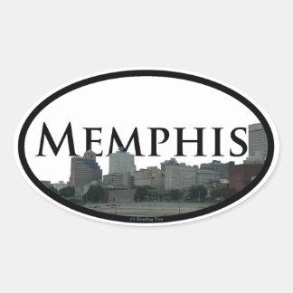 Sticker Ovale Horizon de Memphis, Tennessee avec Memphis dans le