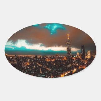 Sticker Ovale Horizon de nuit de Taïpeh