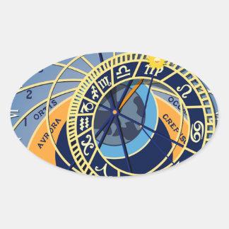 Sticker Ovale Horloge astrologique de Prague