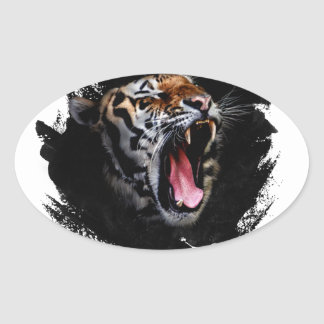 Sticker Ovale Hurlement de tigre