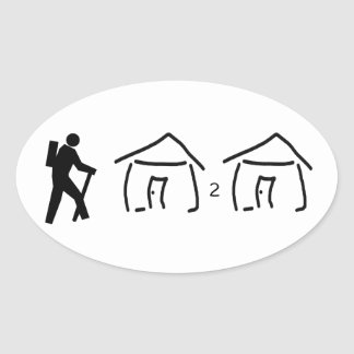 Sticker Ovale Hutte de hausse à la hutte
