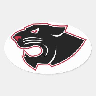 Sticker Ovale Icône agressive de tête de panthère