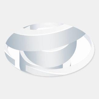 Sticker Ovale Icône de la tornade 3d d'ouragan de cyclone de