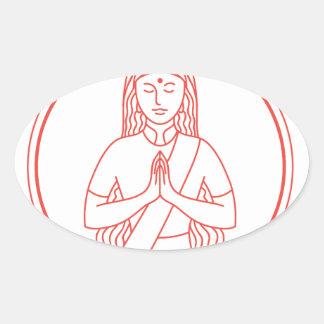 Sticker Ovale Icône de Namaste