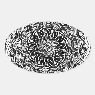Sticker Ovale Illusion optique de griffonnage fleuri de zen