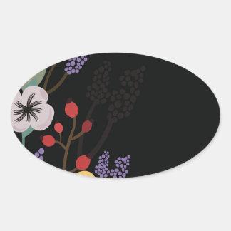 Sticker Ovale Illustration florale sur l'arrière - plan noir