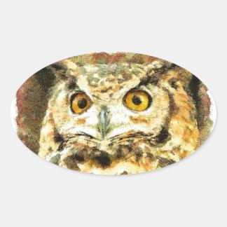 Sticker Ovale Illustration mignonne de hibou
