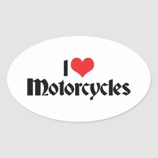 Sticker Ovale J'aime des motos de coeur