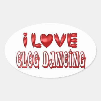 Sticker Ovale J'aime la danse d'entrave