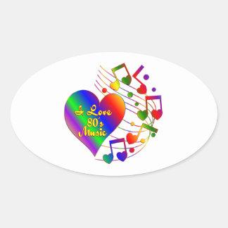 Sticker Ovale J'aime la musique 80s
