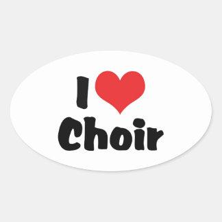 Sticker Ovale J'aime le choeur de coeur