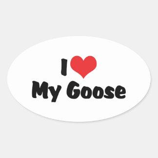Sticker Ovale J'aime le coeur mon oie - amant d'oiseau