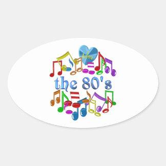 Sticker Ovale J'aime les années 80