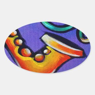 Sticker Ovale Jazz et tambours