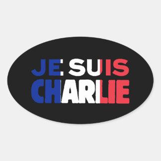 Sticker Ovale Je Suis Charlie - je suis Charlie tricolore de la