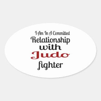 Sticker Ovale Je suis dans un rapport commis avec le combattant