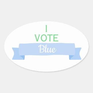 Sticker Ovale JE VOTE le genre de baby shower du BLEU   indique