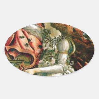 Sticker Ovale jeune fille dans la blanchisserie de robe