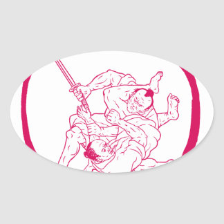Sticker Ovale Jui samouraï Jitsu combattant le dessin d'Enso