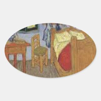Sticker Ovale La chambre de Vincent Van Gogh (The room)