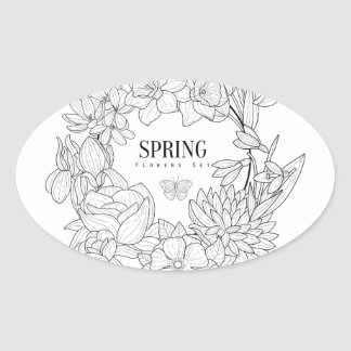 Sticker Ovale La colère du ressort fleurit tiré par la main