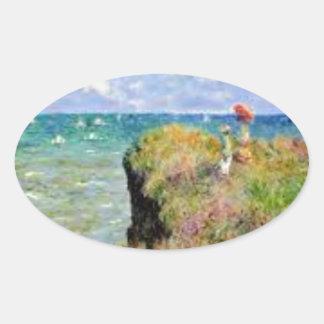 Sticker Ovale La falaise de Pourville de Claude Monet