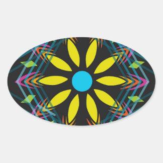 Sticker Ovale La fleur jaune s'est fanée les diamants bleus