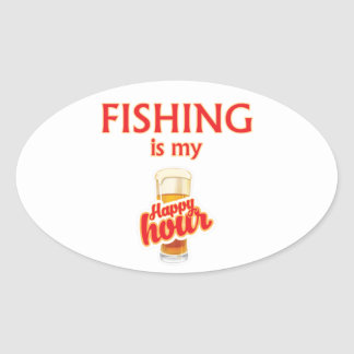 Sticker Ovale La pêche est mon heure heureuse