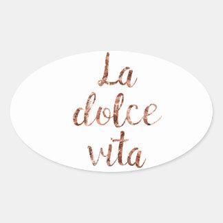 Sticker Ovale La rose Dolce Vita d'or