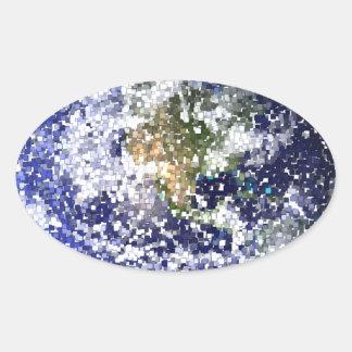 Sticker Ovale la terre de cube