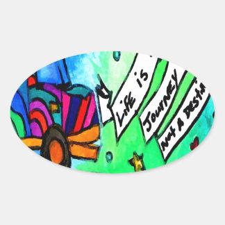 Sticker Ovale La vie est un voyage pas une destination