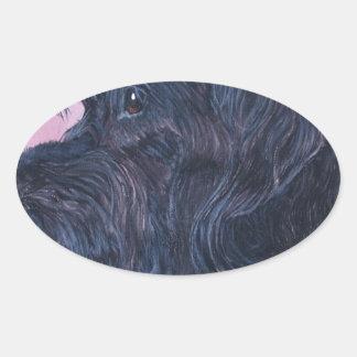 Sticker Ovale Labradoodle noir