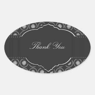 Sticker Ovale L'acier entoure l'autocollant de Merci