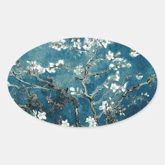 Sticker Ovale L'amande de Vincent van Gogh fleurit Teal foncé