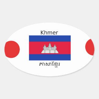 Sticker Ovale Langue de Khmer et conception de drapeau de