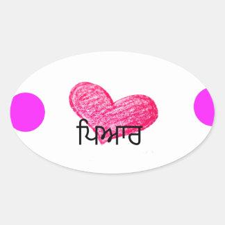 Sticker Ovale Langue de Punjabi de conception d'amour