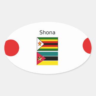Sticker Ovale Langue de Shona et drapeaux du Zimbabwe et de la