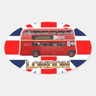 Sticker Ovale L'autobus à impériale rouge de Londres