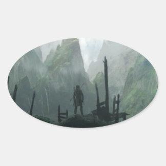 Sticker Ovale Le dernier guerrier du clan de montagne