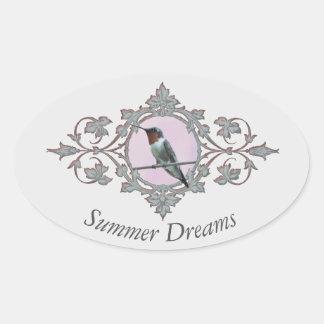"""Sticker Ovale Le """"été rêve"""" la belle photographie de colibri"""
