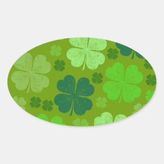 Sticker Ovale Le jour de Patrick de saint, quatre trèfles de