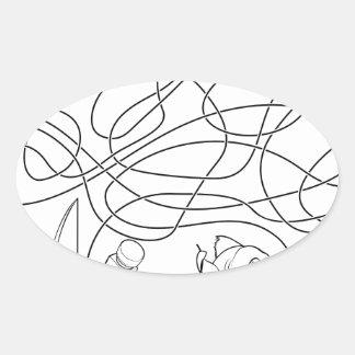 Sticker Ovale Le labyrinthe raye le jeu des enfants