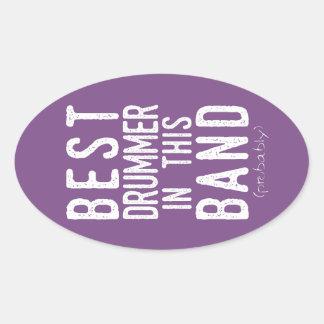 Sticker Ovale Le meilleur batteur (probablement) (blanc)