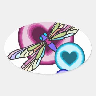 Sticker Ovale Le pastel a coloré la libellule avec rose bleu et