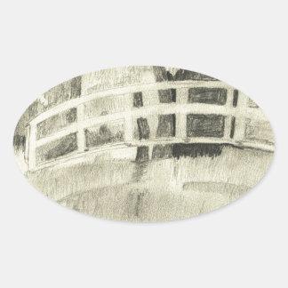 Sticker Ovale Le pont japonais de Monet noir et blanc