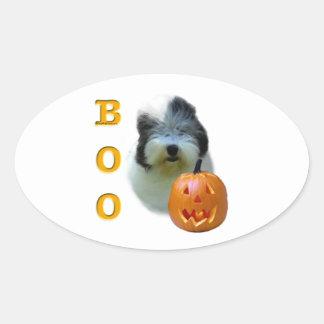 Sticker Ovale Le vieux chien de berger anglais Halloween huent