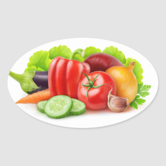 Sticker Ovale Légumes frais