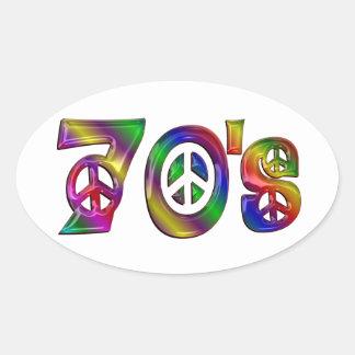 Sticker Ovale Les années 70 colorées