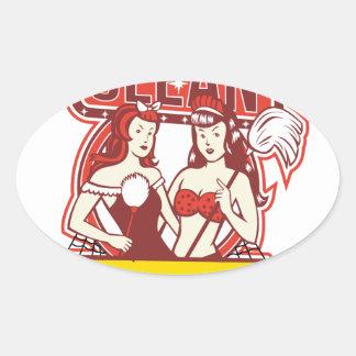 Sticker Ovale Les décapants jumeaux nettoient les années 1950